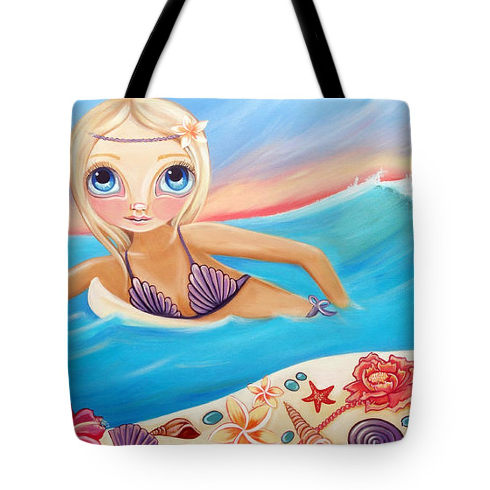 Sunset Tote Bag featuring the painting Sunset Surfer by Jaz Higgins