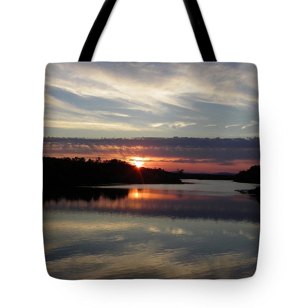 Sunset Tote Bag featuring the photograph Sunset Up The Sebec by Georgia Hamlin