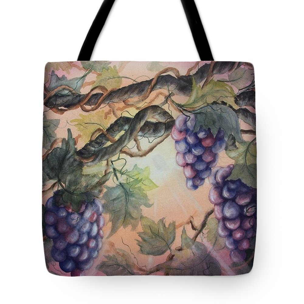 Grapes Tote Bag featuring the painting Sunset Vineyard by Conni Reinecke
