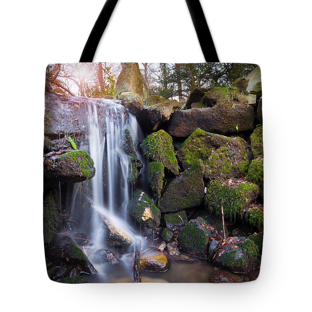 Dublin Tote Bag featuring the photograph Sunset Waterfalls In Marlay Park by Semmick Photo