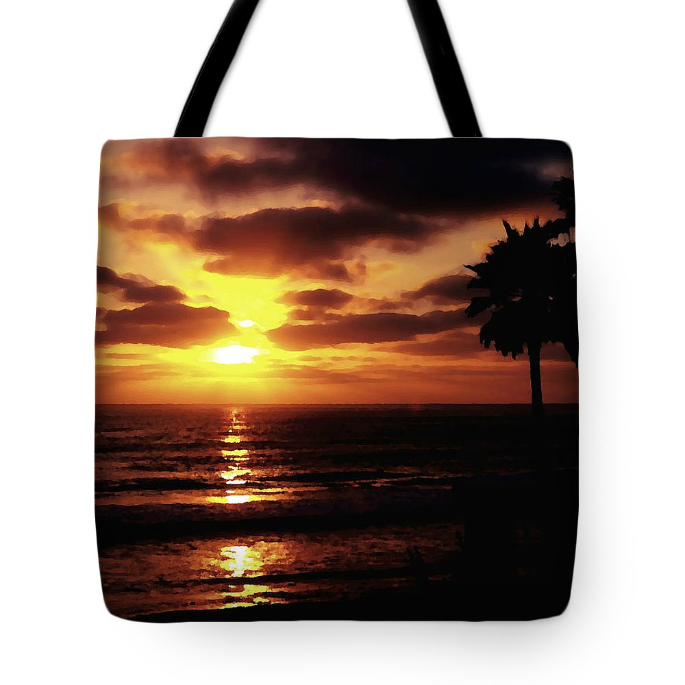 Digital Paint Effect Tote Bag featuring the photograph Sunset With Friends by Sharon Tate Soberon