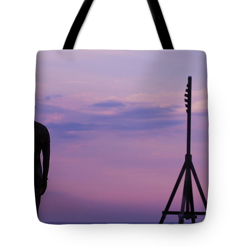 Another Place Tote Bag featuring the photograph Sunset With The Iron Man by Leah Palmer