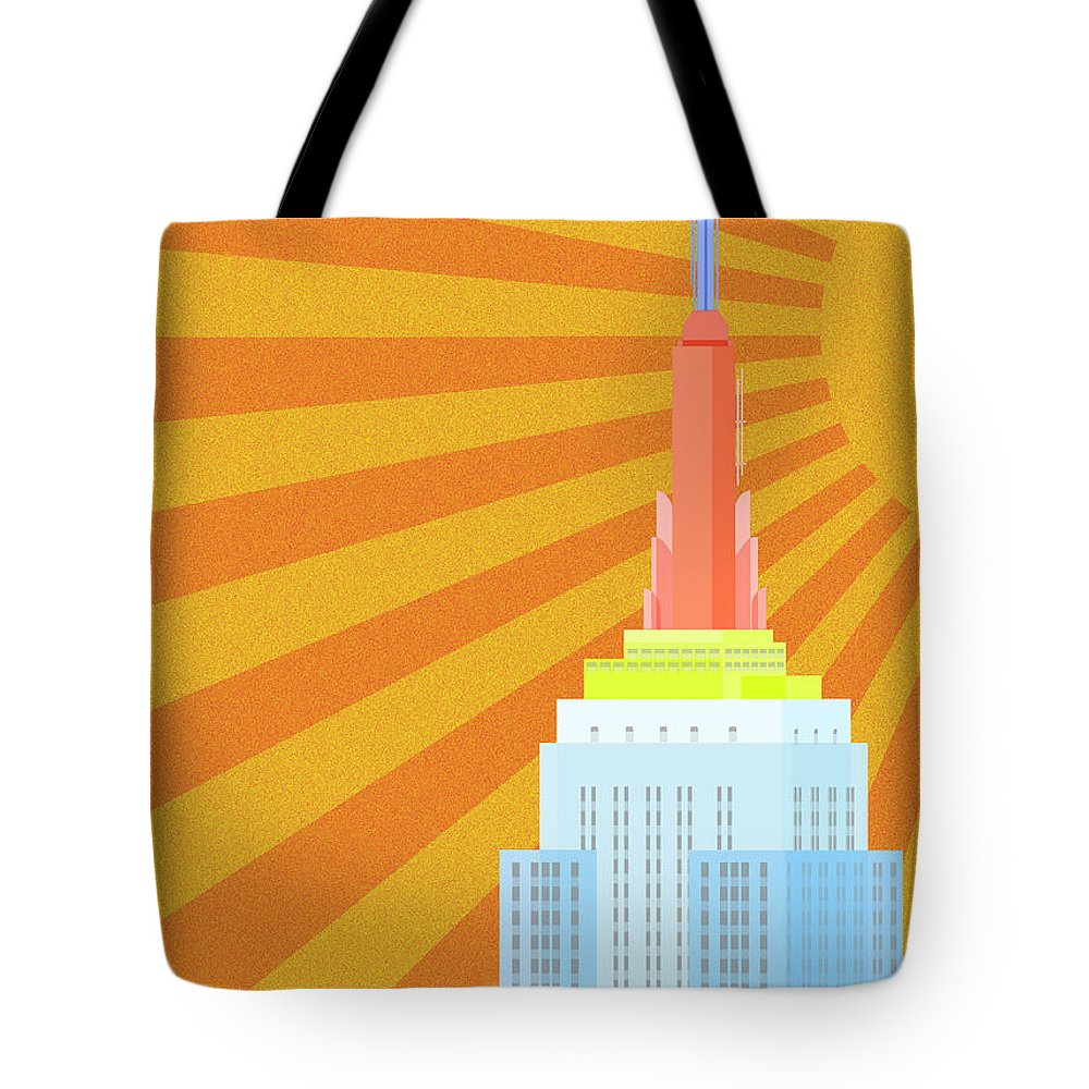 Empire State Building Vector Tote Bag featuring the digital art Sunshine City by Nishanth Gopinathan