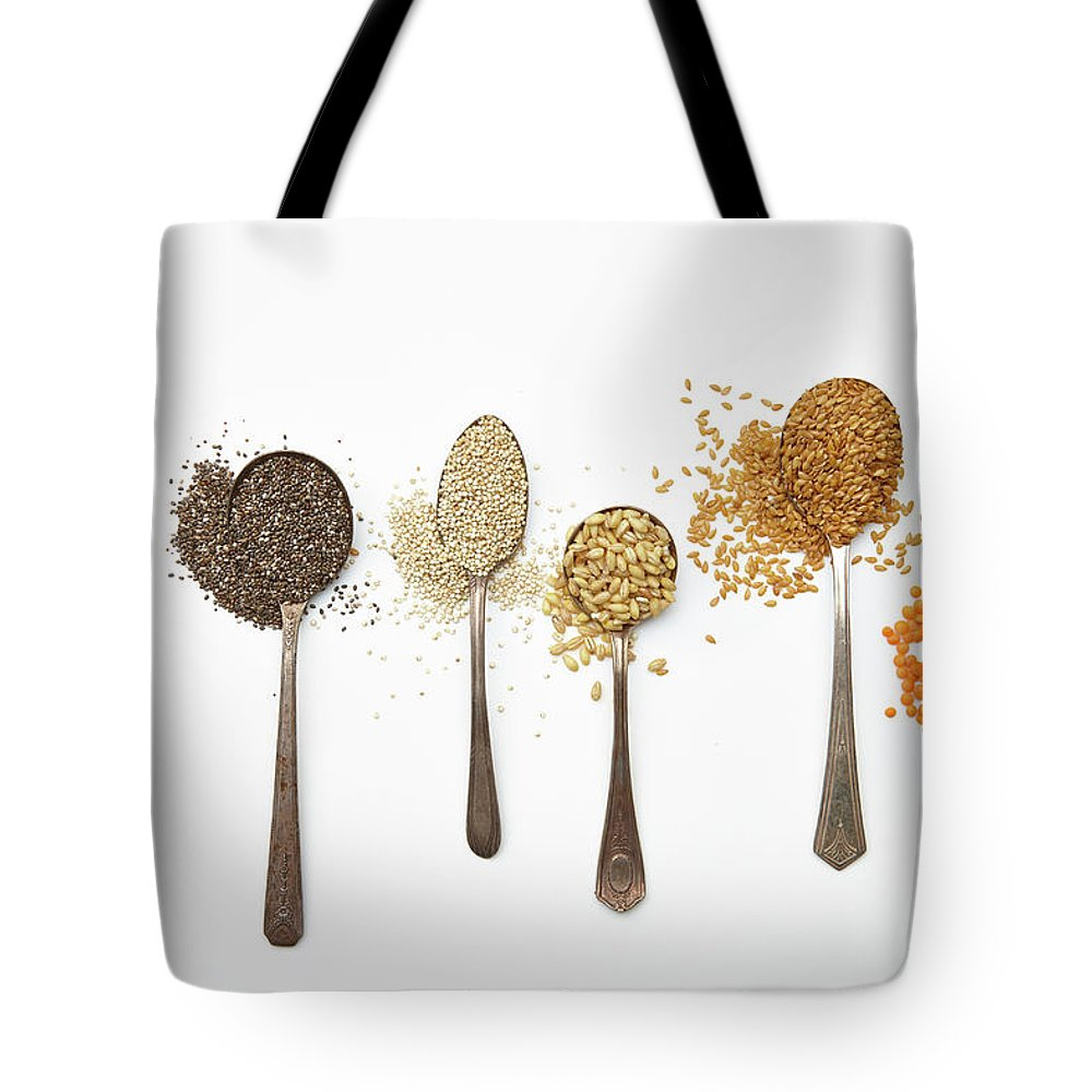 White Background Tote Bag featuring the photograph Super Food Grains by Lew Robertson