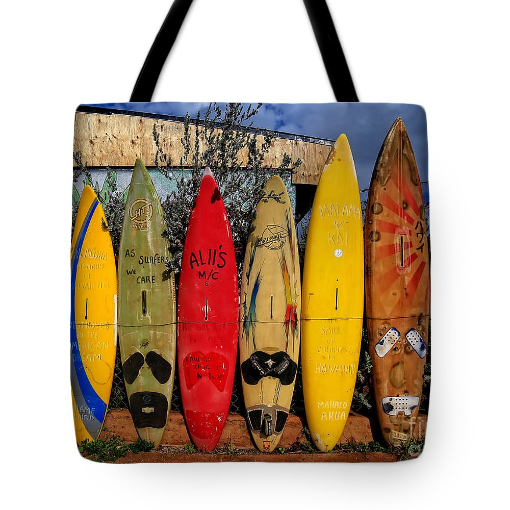 Surf Tote Bag featuring the photograph Surf Board Fence Maui Hawaii by Edward Fielding
