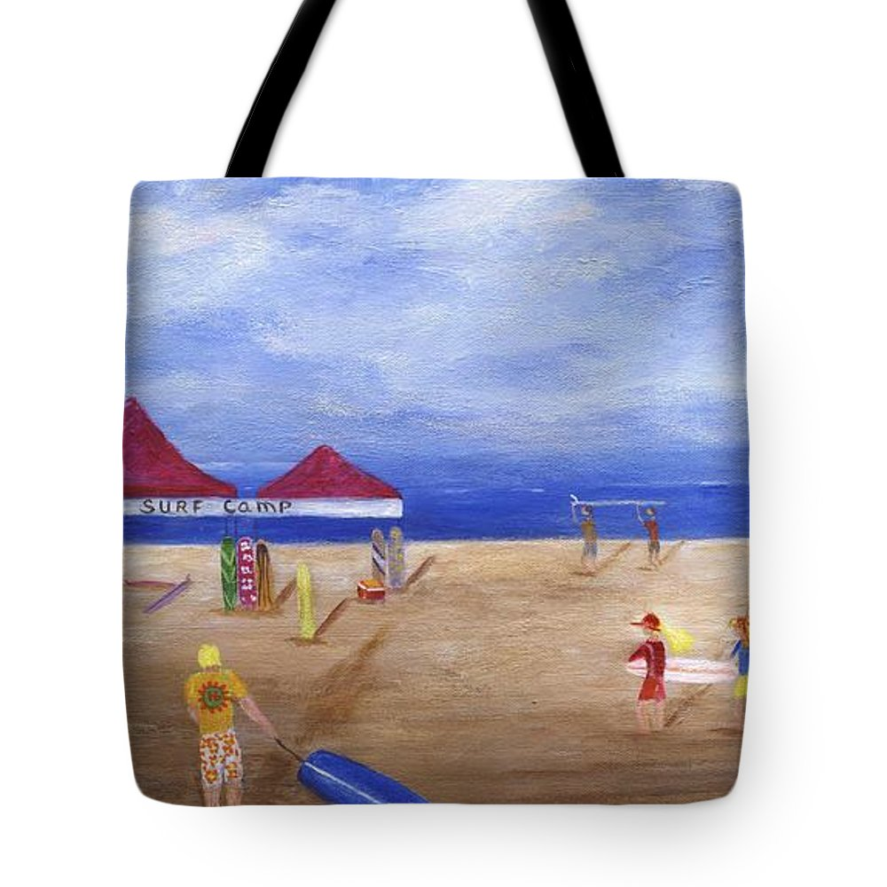Sea Tote Bag featuring the painting Surf Camp by Jamie Frier