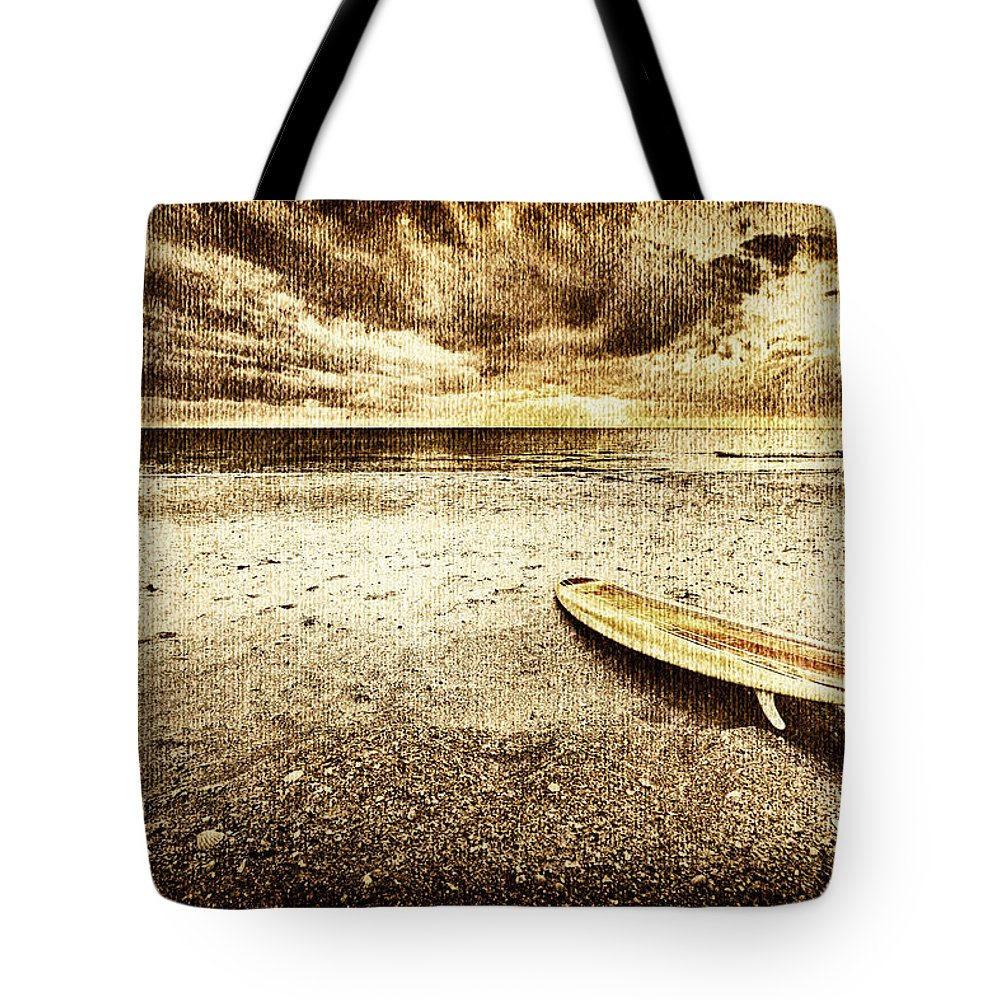 Surfboard Tote Bag featuring the photograph Surfboard On The Beach 2 by Skip Nall