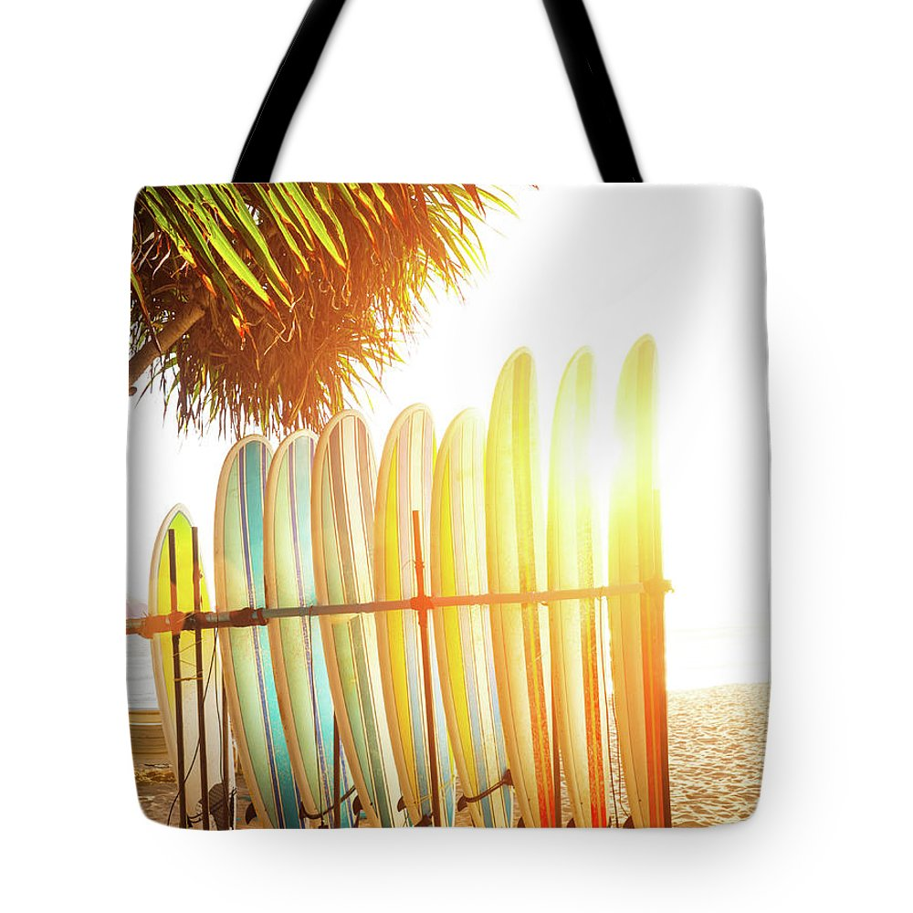 Recreational Pursuit Tote Bag featuring the photograph Surfboards At Ocean Beach by Arand