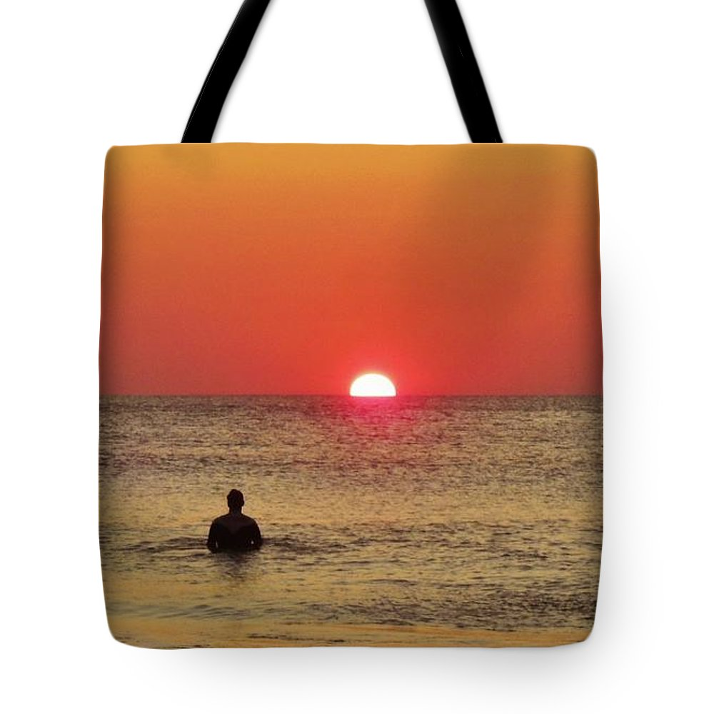 Mark Lemmon Cape Hatteras Nc The Outer Banks Photographer Subjects From Sunrise Tote Bag featuring the photograph Surfer Sunrise 3 10/2 by Mark Lemmon