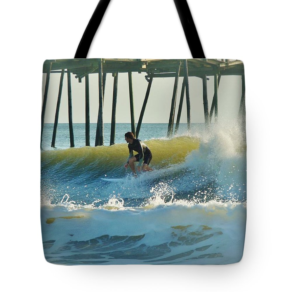 Mark Lemmon Cape Hatteras Nc The Outer Banks Photographer Subjects From Sunrise Tote Bag featuring the photograph Surfer Sunrise 31 10/2 by Mark Lemmon