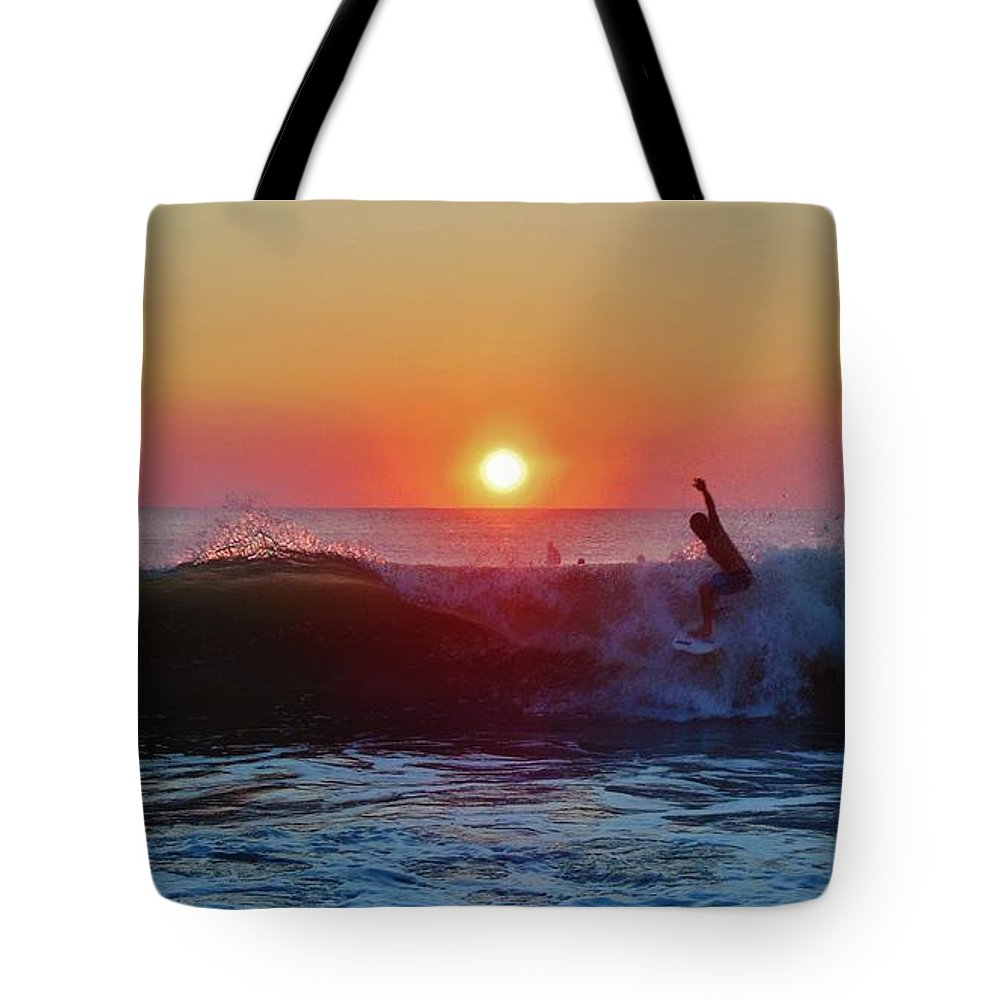 Mark Lemmon Cape Hatteras Nc The Outer Banks Photographer Subjects From Sunrise Tote Bag featuring the photograph Surfer Sunrise 8 10/2 by Mark Lemmon