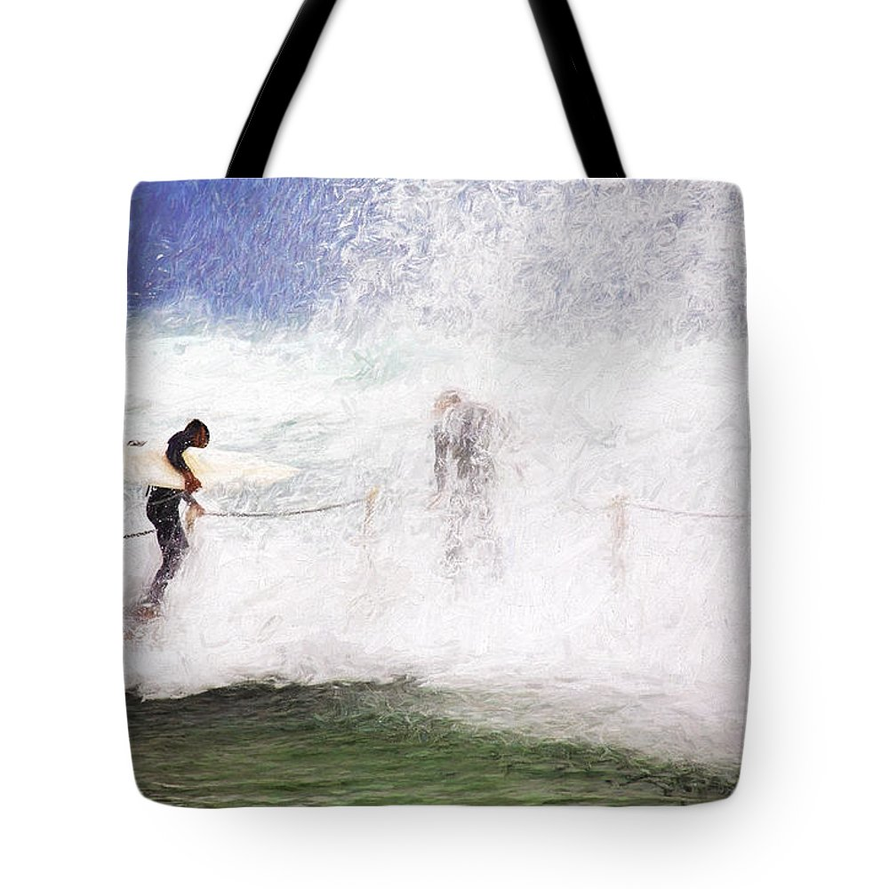 Surf Tote Bag featuring the photograph Surfers at rockpool by Sheila Smart Fine Art Photography