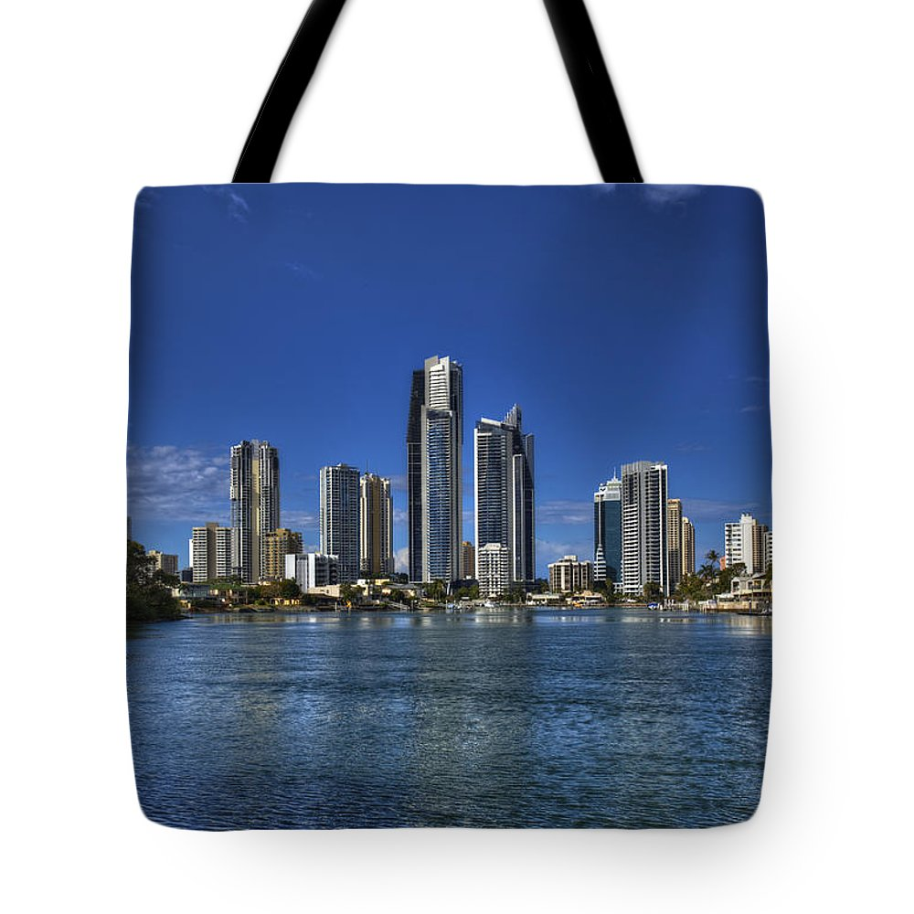 Surfers Paradise Tote Bag featuring the photograph Surfers City Skyline Day by Darren Burton