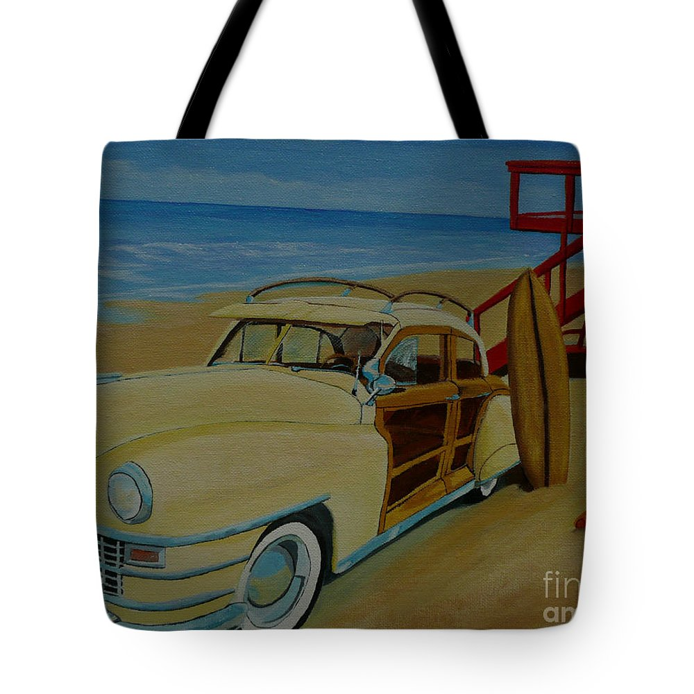 Woody Tote Bag featuring the painting Surfers Woody by Anthony Dunphy