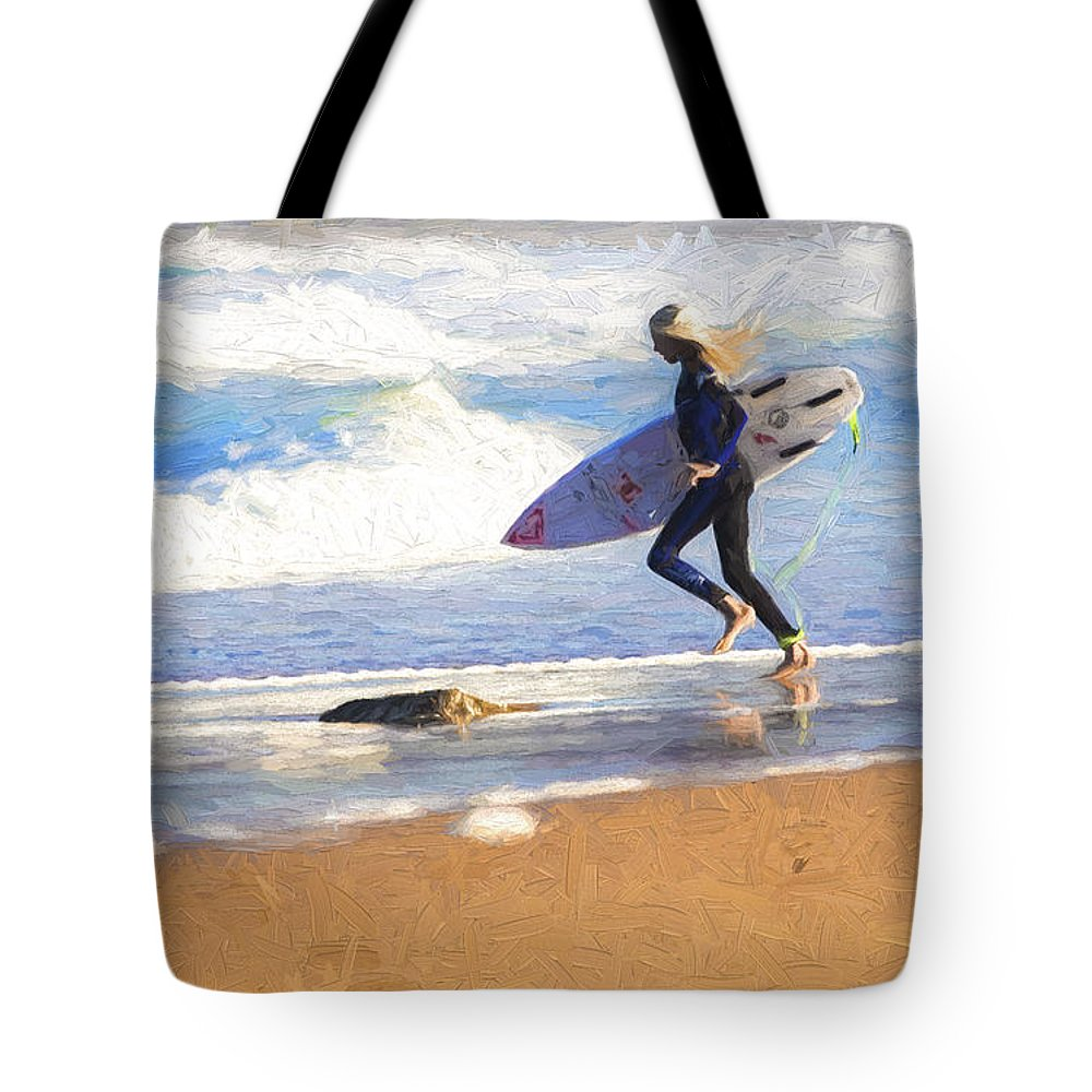 Surfer Tote Bag featuring the photograph Surfing girl by Sheila Smart Fine Art Photography