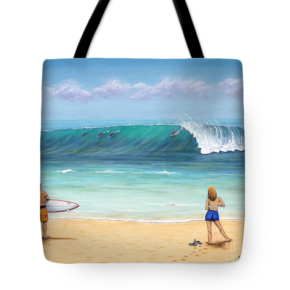 Hawaii Tote Bag featuring the painting Surfing Hawaii by Jerome Stumphauzer