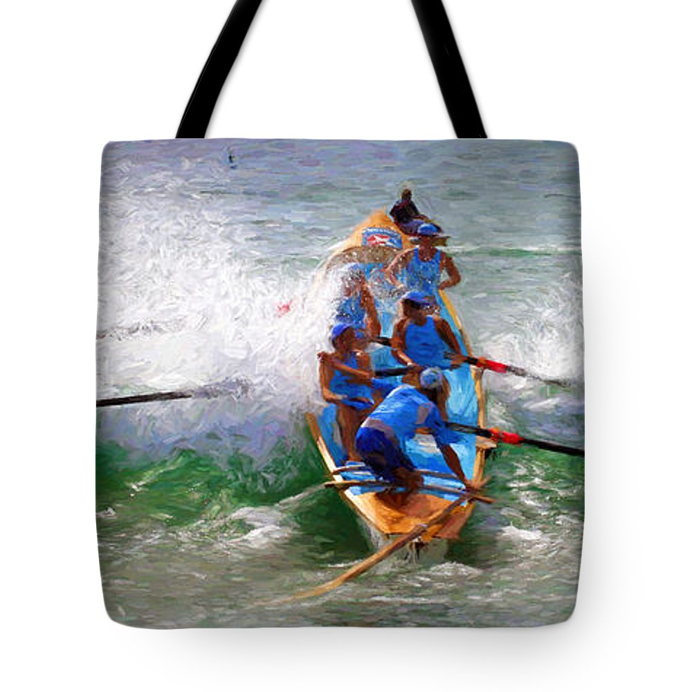 Surfer Tote Bag featuring the photograph Surfing lifesaving boat by Sheila Smart Fine Art Photography