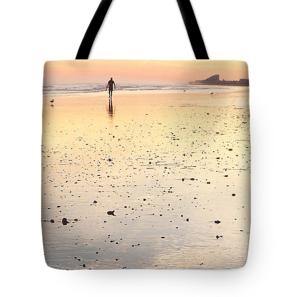 Surfing Tote Bag featuring the photograph Surfing Sunset by Eric Schiabor