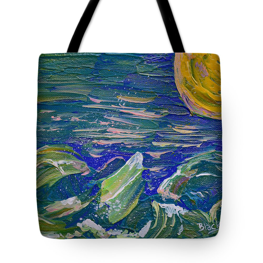 Vibrant Abstract Tote Bag featuring the painting Surfing The Sun by Donna Blackhall