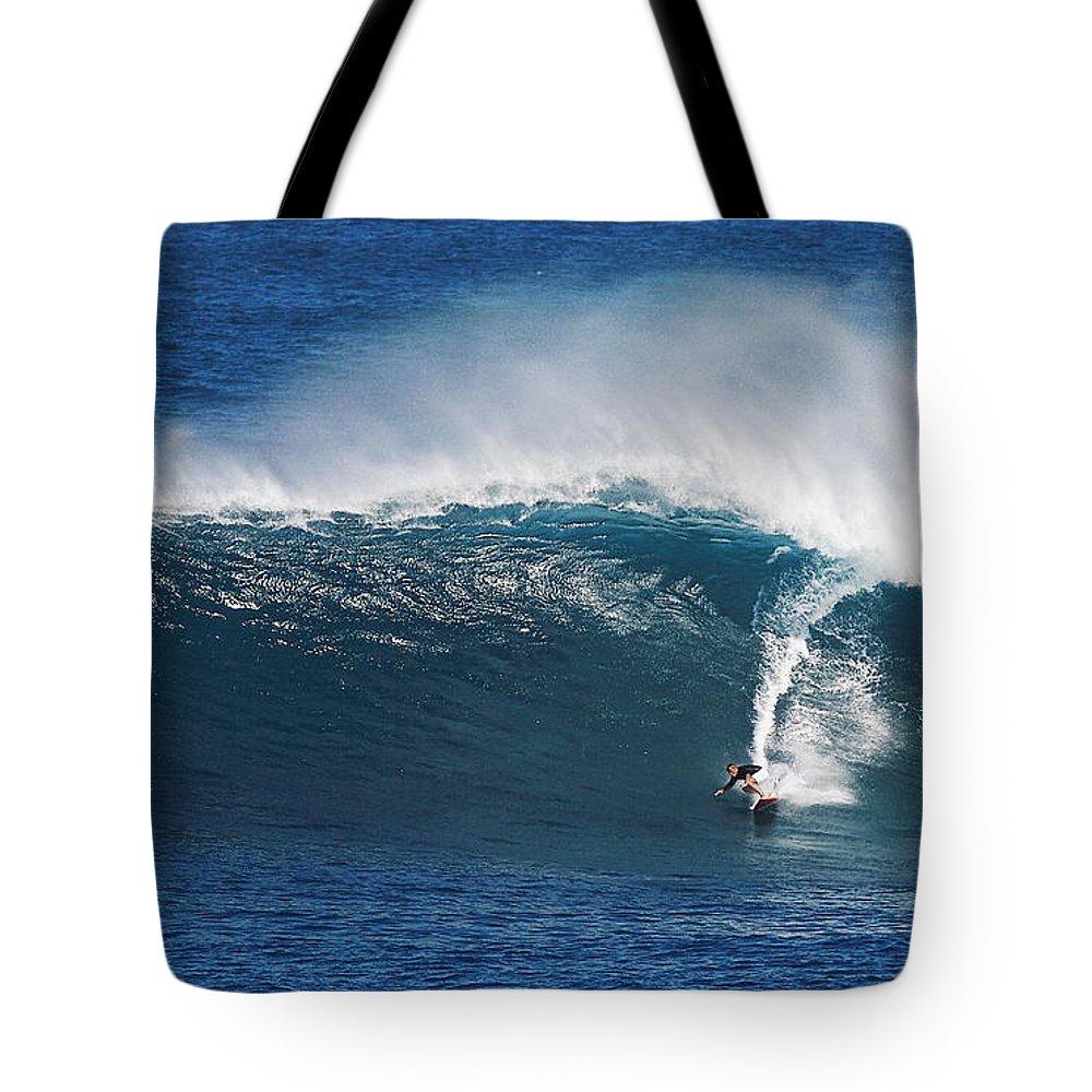 Surfing Waimea Bay Tote Bag featuring the photograph Surfing Waimea Bay by Richard Cheski