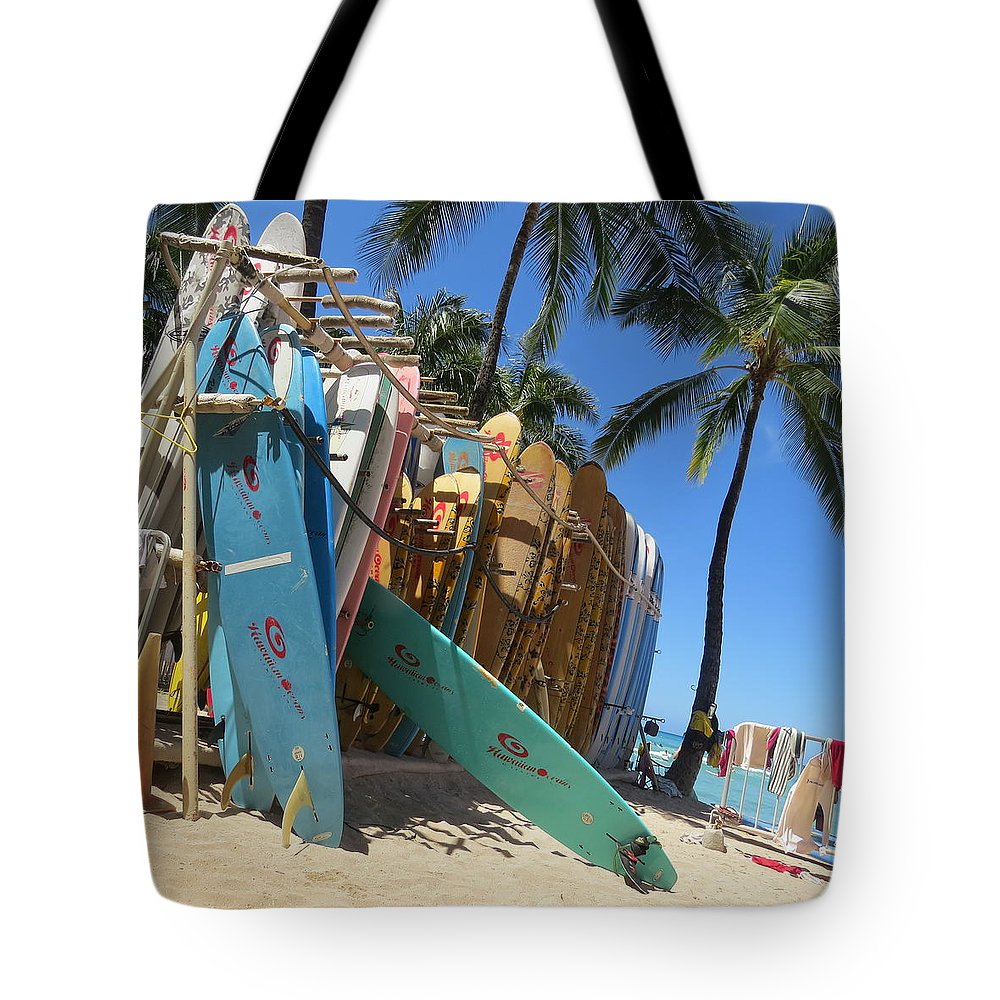 Surf Tote Bag featuring the photograph Surfs Up by Karen Winkfield