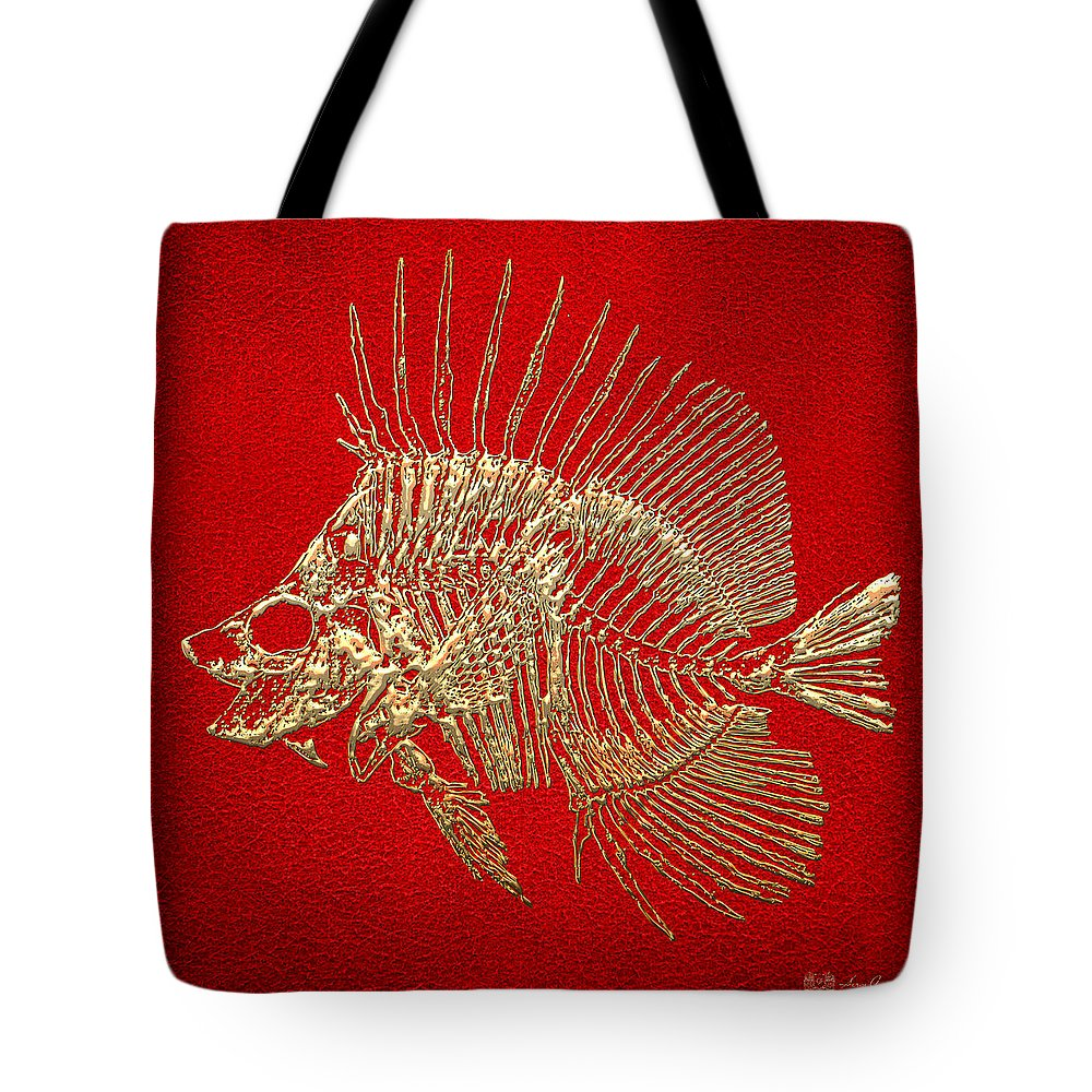 'precious Bones' Collection By Serge Averbukh Tote Bag featuring the digital art Surgeonfish Skeleton In Gold On Red by Serge Averbukh