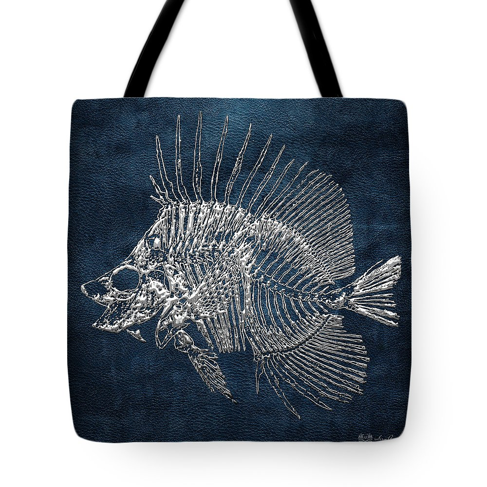 'precious Bones' Collection By Serge Averbukh Tote Bag featuring the digital art Surgeonfish Skeleton In Silver On Blue by Serge Averbukh