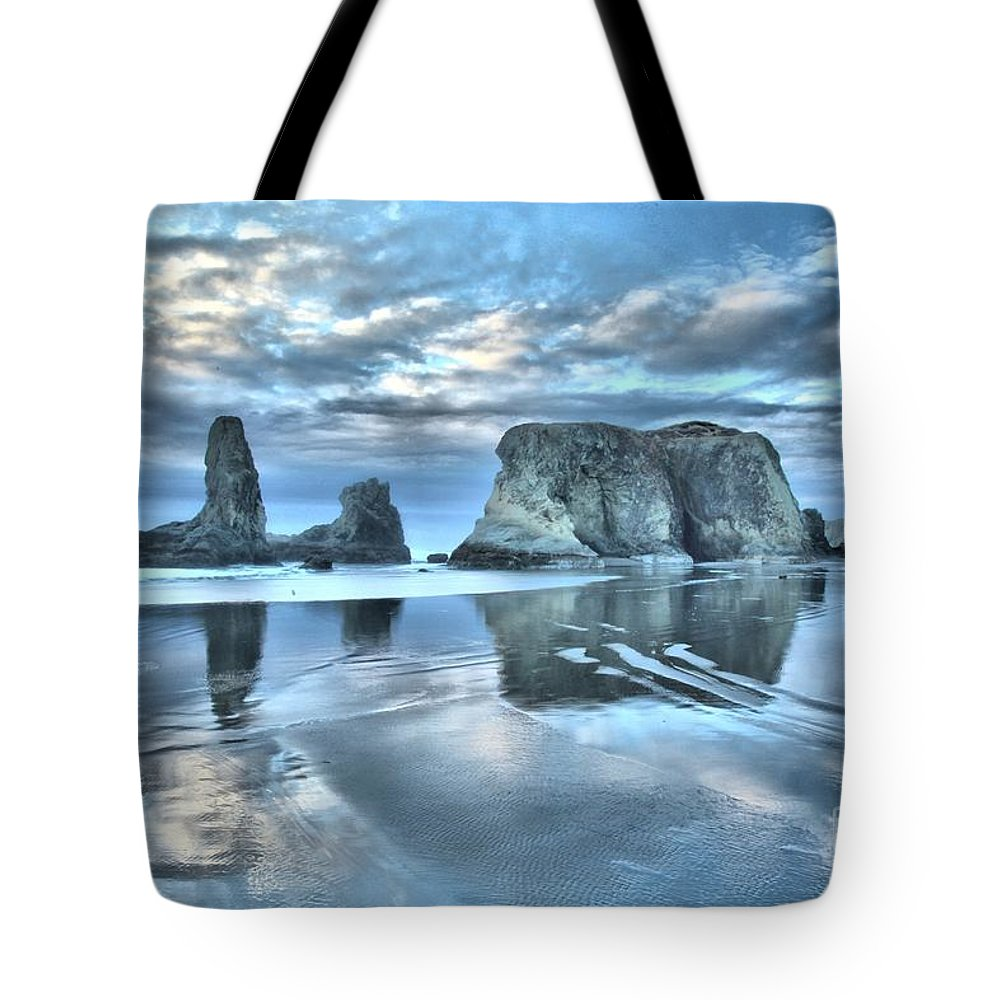 Bandon Beach Tote Bag featuring the photograph Surreal Beach Swirls by Adam Jewell