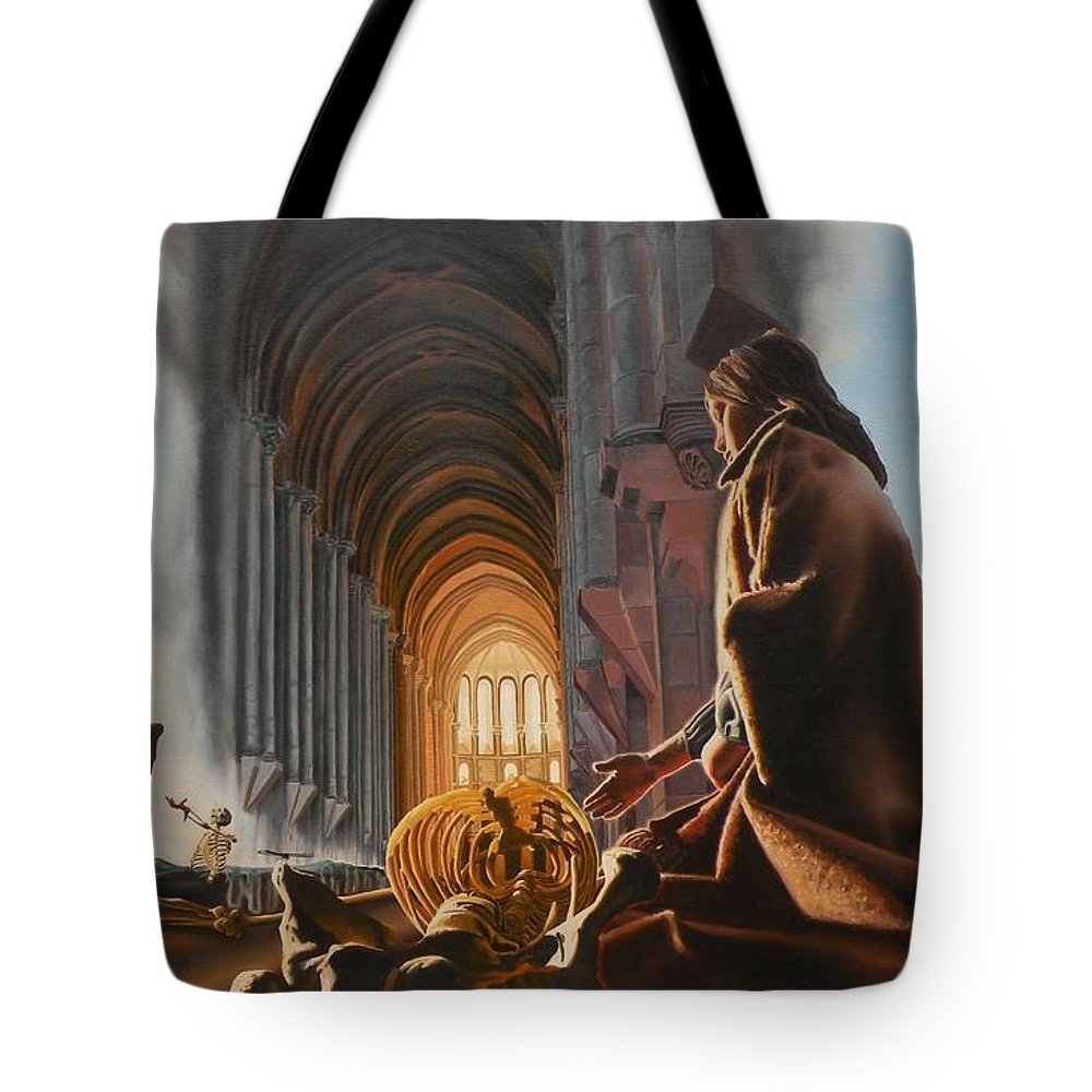 Surreal Tote Bag featuring the painting The Cathedral by Dave Martsolf