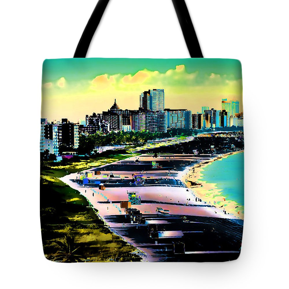 Miami Miami+beach Florida Ocean Beach Sand Buildings Condos Skyline Tote Bag featuring the painting Surreal Colors Of Miami Beach Florida by Elaine Plesser