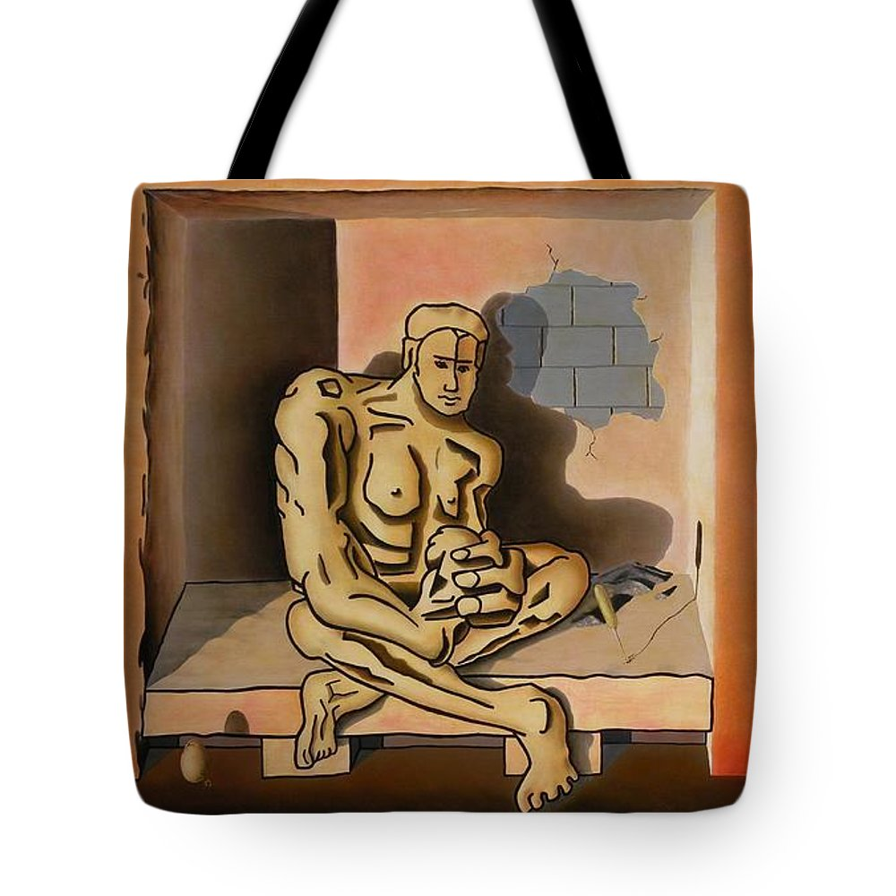 Surreal Tote Bag featuring the painting Surreal Portents Of Genius by Dave Martsolf