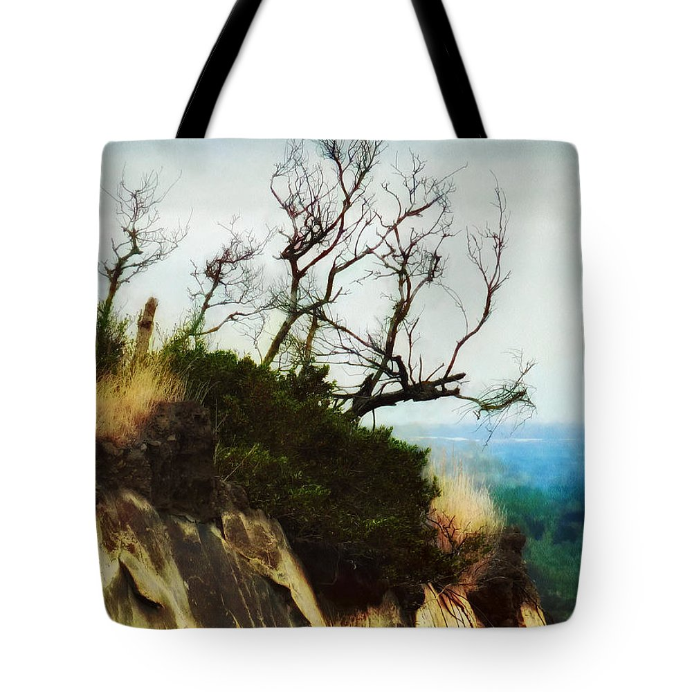 Halswell Tote Bag featuring the photograph Surviving On The Cliff Top by Steve Taylor