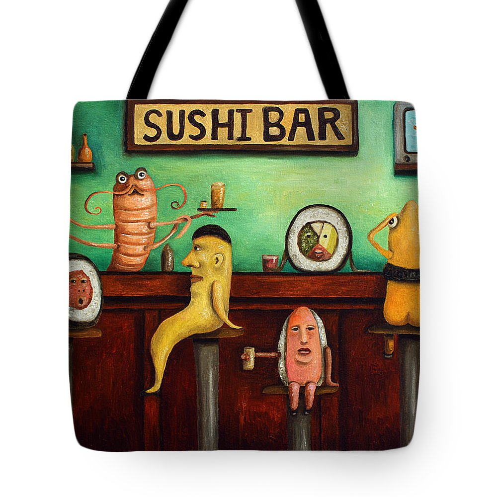 Sushi Tote Bag featuring the painting Sushi Bar Improved Image by Leah Saulnier The Painting Maniac