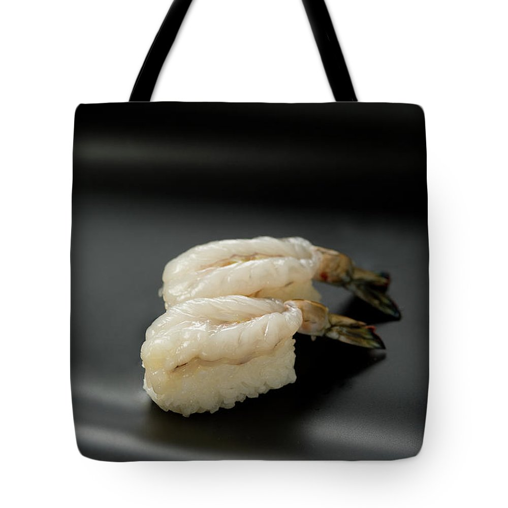 Black Background Tote Bag featuring the photograph Sushi Ebi by Ryouchin