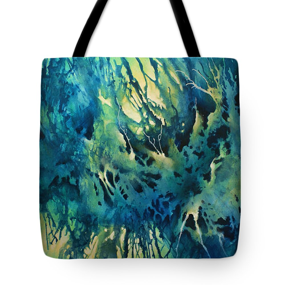 Abstract Tote Bag featuring the painting 'Suspended Blue' by Michael Lang