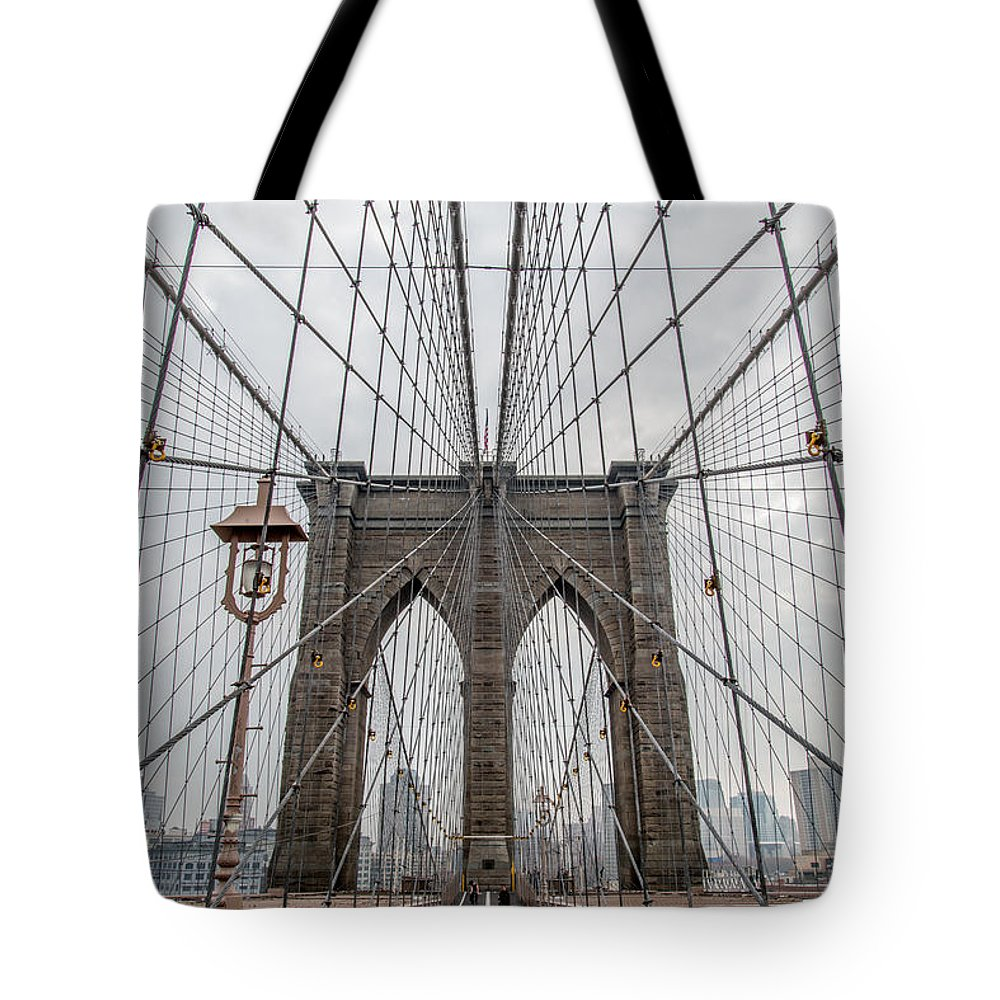 Brooklyn Bridge Tote Bag featuring the photograph Suspended by Dustin LeFevre