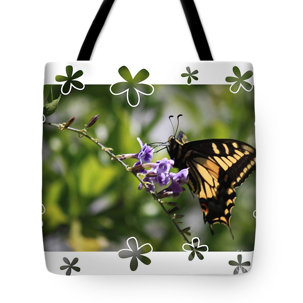Nature Tote Bag featuring the photograph Swallowtail 4 With Flower Framing by Carol Groenen