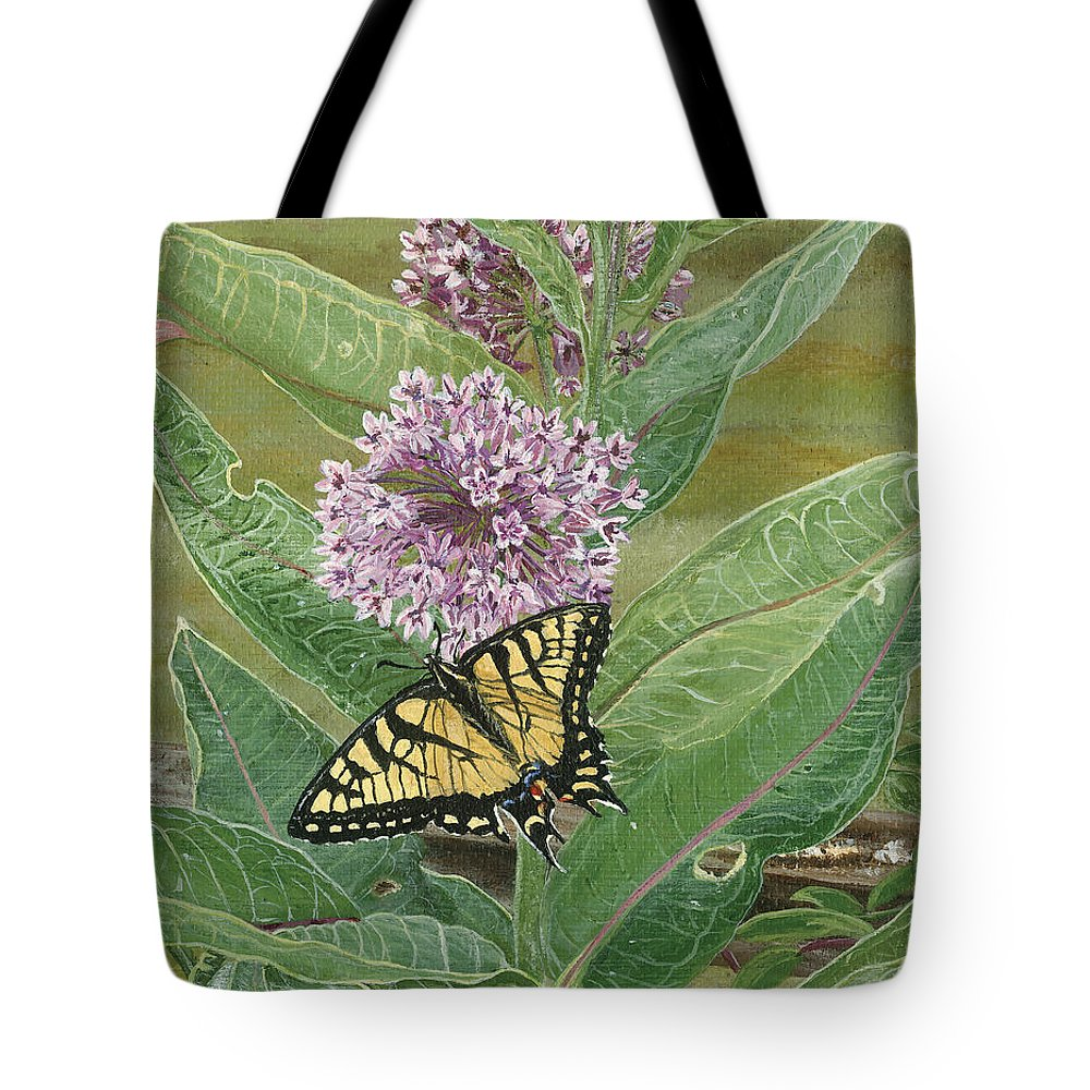 Swallowtail Tote Bag featuring the painting Swallowtail On Milkweed by Lucinda V VanVleck