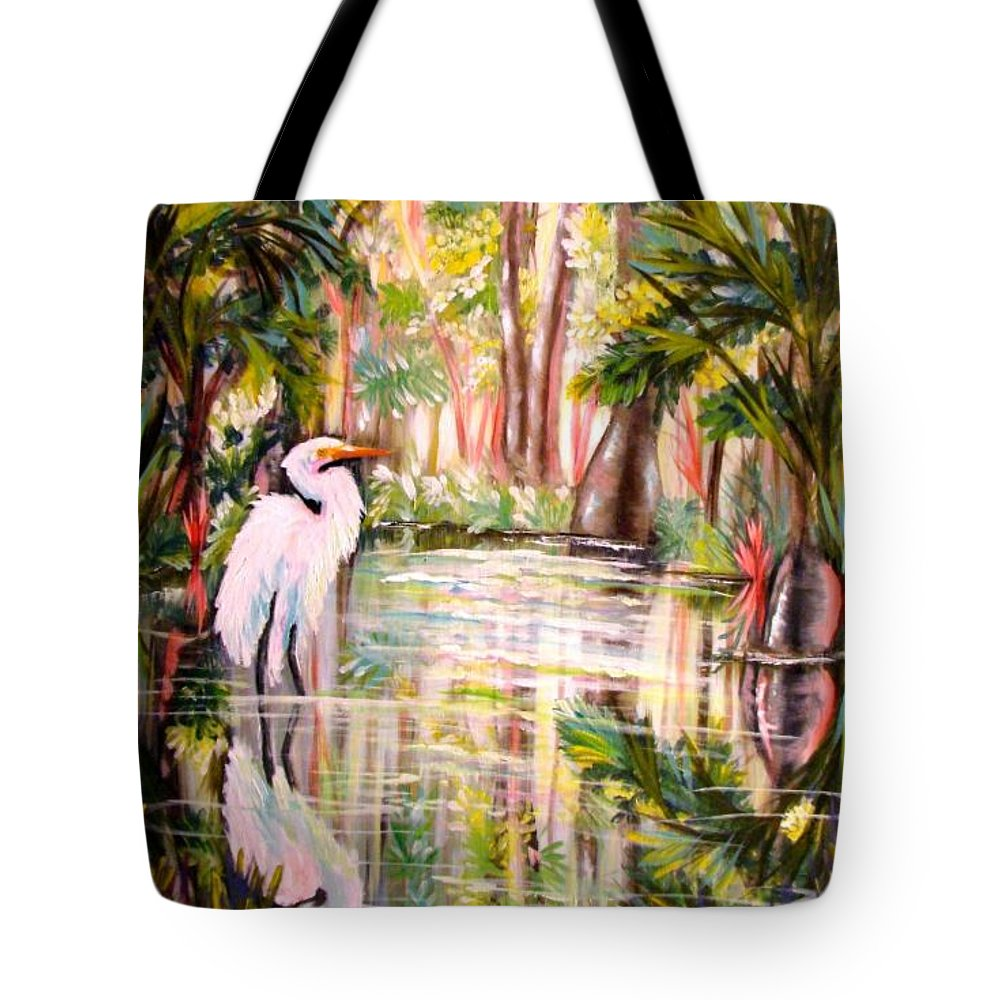 Egret Tote Bag featuring the painting Swamp Angel by Carol Allen Anfinsen