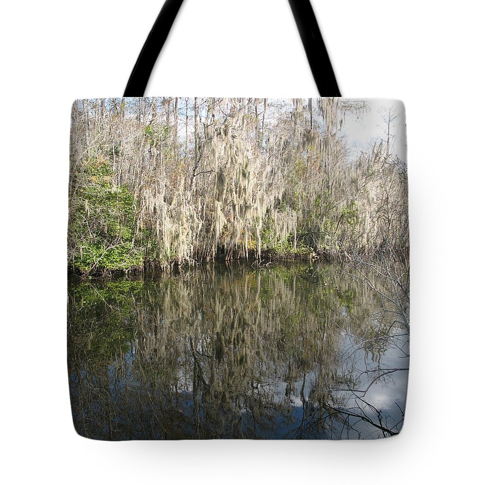 Swamp Tote Bag featuring the photograph Bold Cypress Reflection by Christiane Schulze Art And Photography