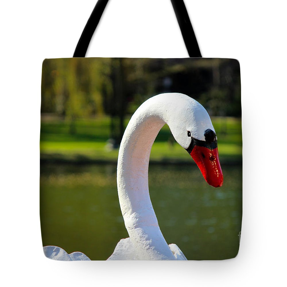 Boston Tote Bag featuring the photograph Swan Boat by Beverly Tabet