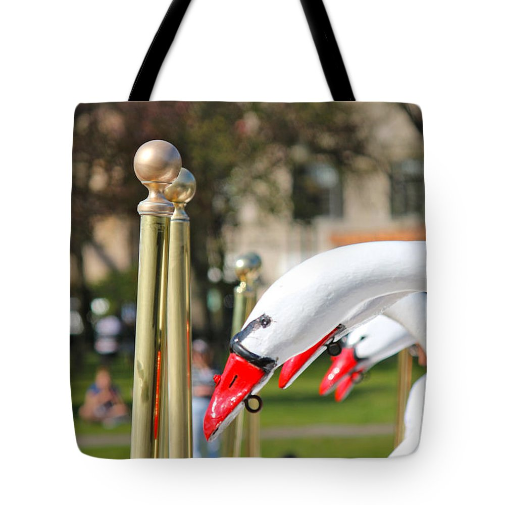 Boston Tote Bag featuring the photograph Swan Boats by Beverly Tabet