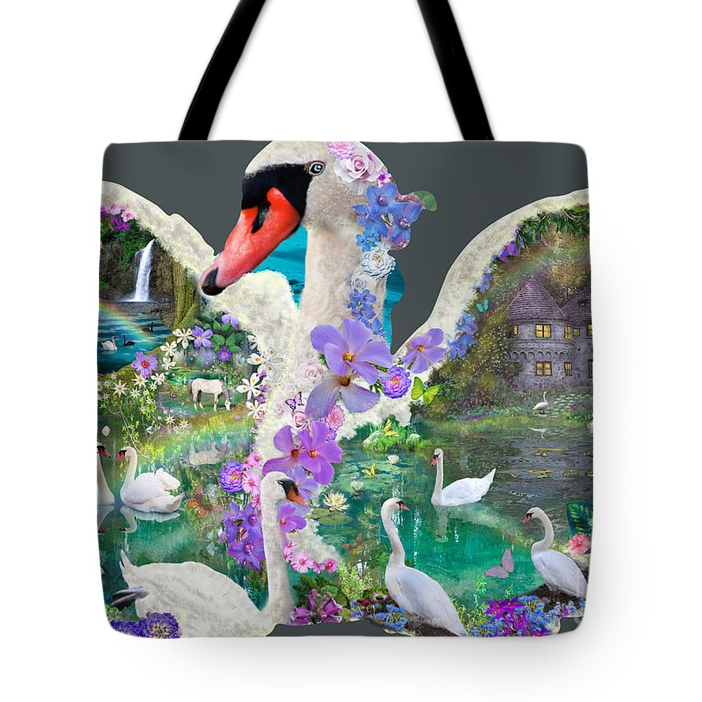 Swan Tote Bag featuring the digital art Swan Day Dream by Alixandra Mullins