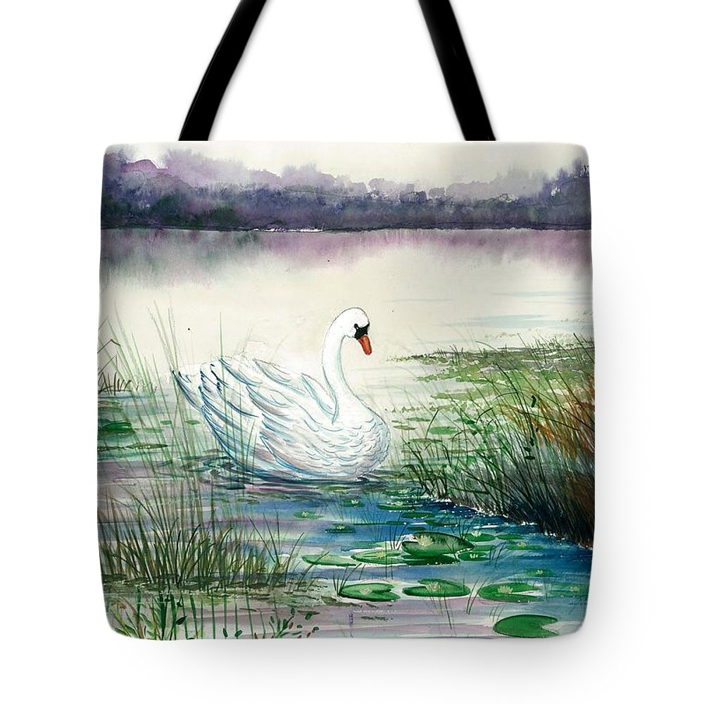 Swan Lake Tote Bag featuring the painting Swan Lake by Steven Schultz