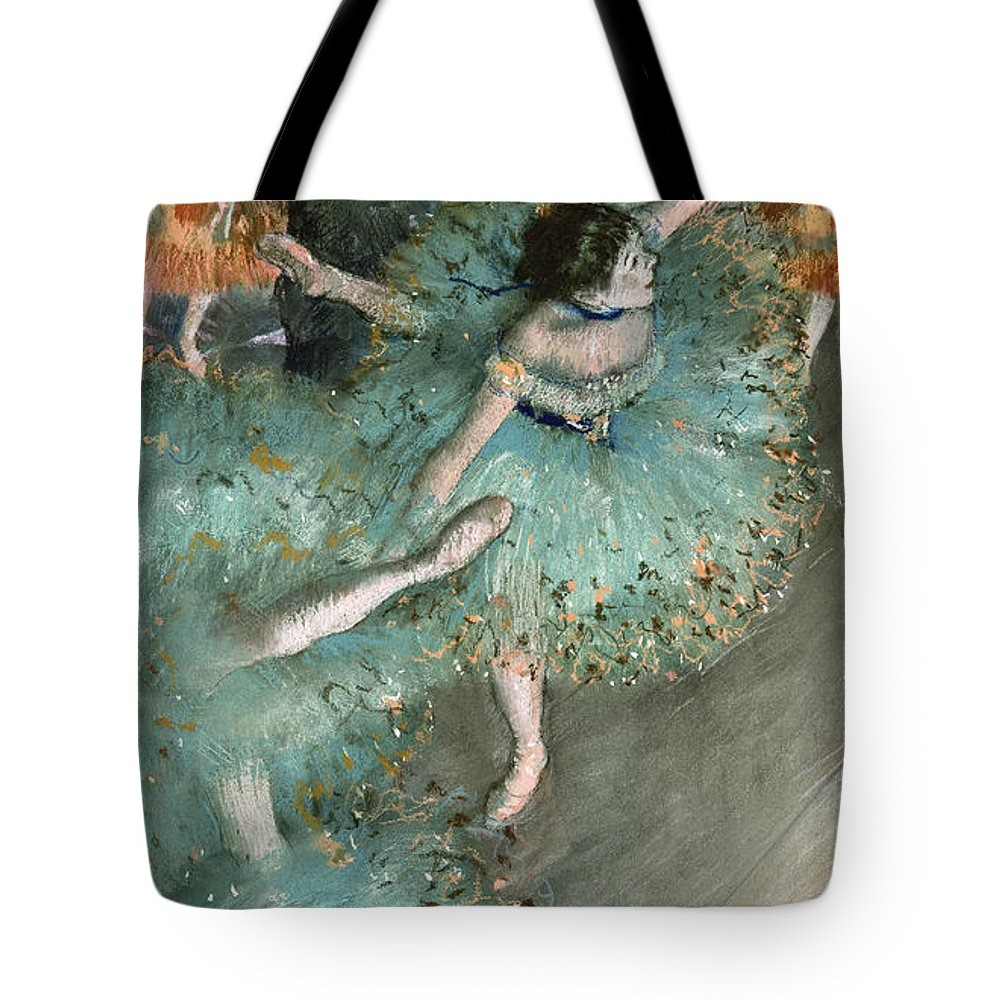 Edgar Degas Tote Bag featuring the painting Swaying Dancer .dancer In Green by Edgar Degas