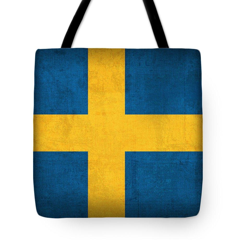 Sweden Flag Vintage Distressed Finish Tote Bag featuring the mixed media Sweden Flag Vintage Distressed Finish by Design Turnpike