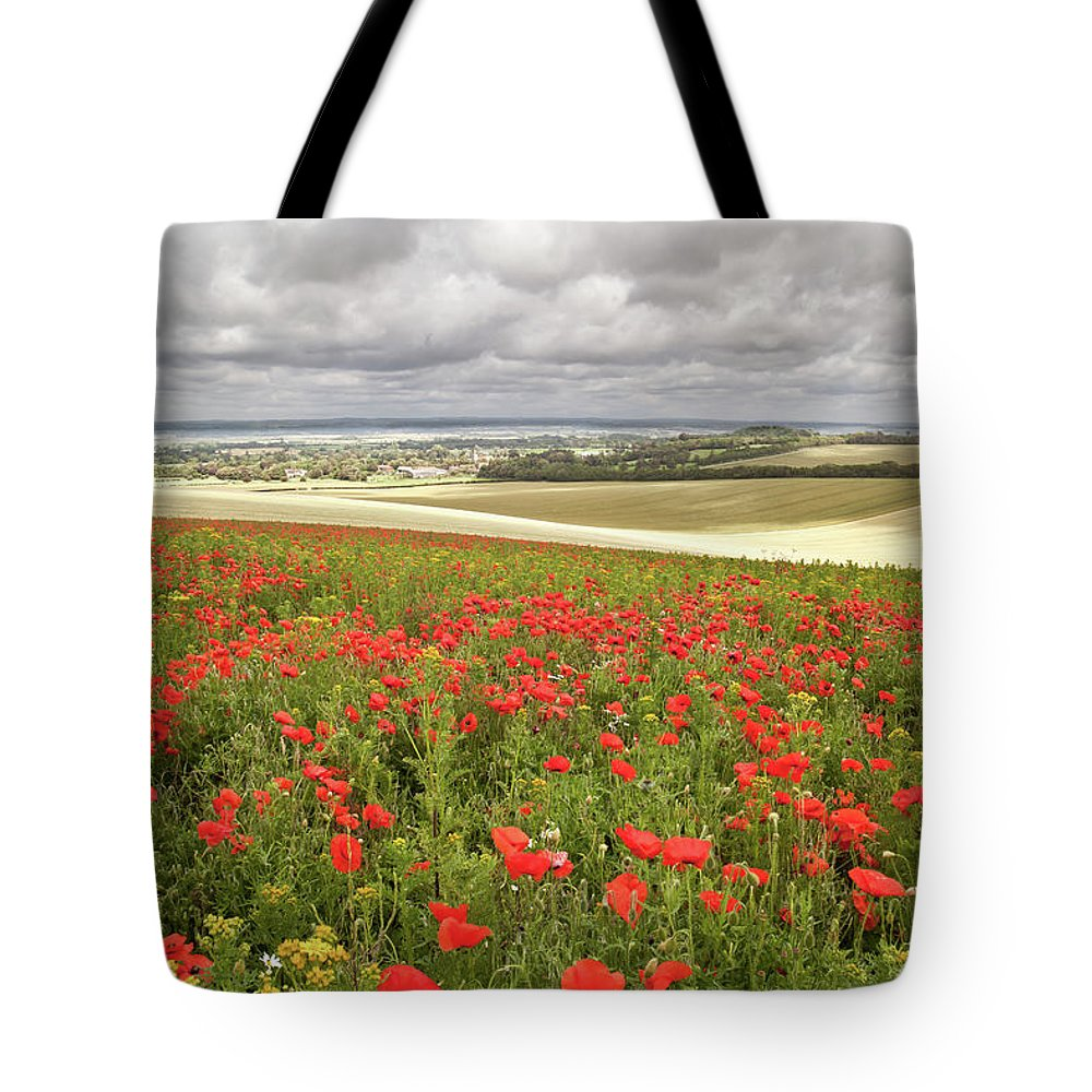 Scenics Tote Bag featuring the photograph Sweeping Golden Fields by Getty Images