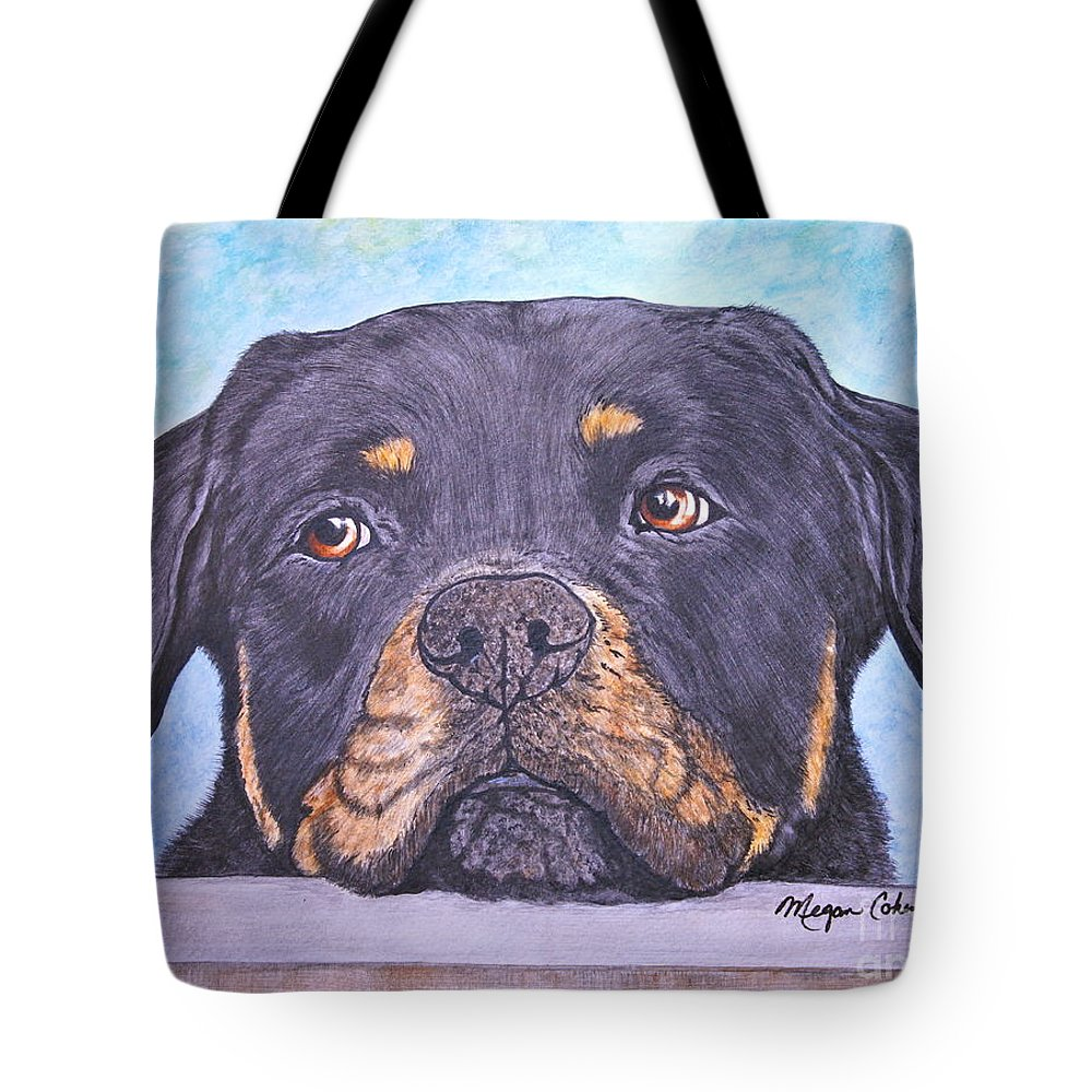 Rottweiler Tote Bag featuring the painting Rottweiler's Sweet Face by Megan Cohen