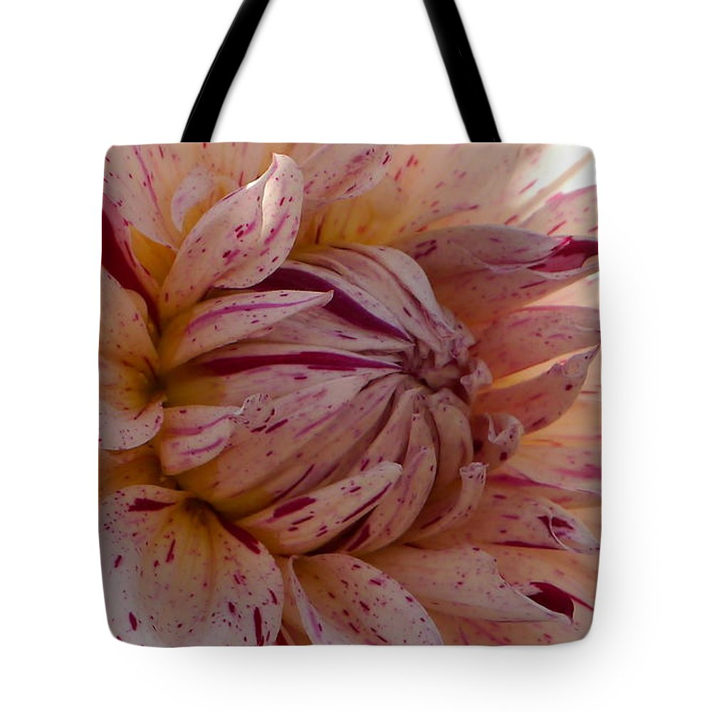 Freckled Dahlia Tote Bag featuring the photograph Sweet Freckled Face by Christiane Schulze Art And Photography