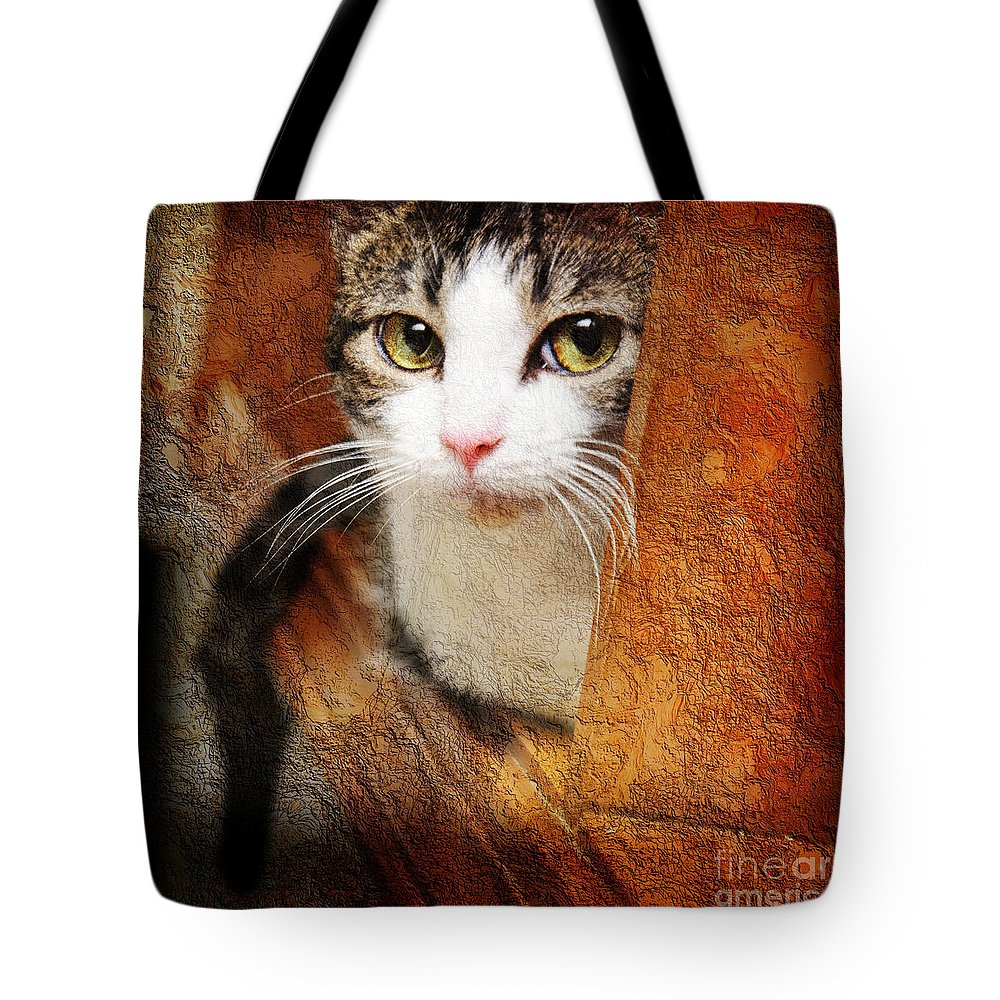 Cat Tote Bag featuring the photograph Sweet Innocence by Andee Design
